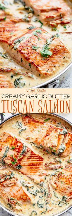 Creamy Garlic Butter Tuscan Salmon is a restaurant quality pan seared salmon in . - Creamy Garlic Butter Tuscan Salmon is a restaurant quality pan seared salmon in – Salmon Recipes - Salmon Recipes, Seafood Recipes, New Recipes, Dinner Recipes, Cooking Recipes, Healthy Recipes, Recipies, Tuscan Salmon Recipe, Salmon Meals