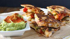 Spicy shrimp quesadillas with chipotle avocado sauce