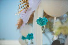 beach party decor, pool party decor, beach wedding decor, glass bottles with blue flowers, hippy, boho , chic, funky