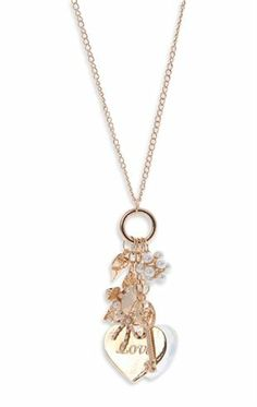 Deb Shops Long #Necklace with Multiple Charms with Heart, Key and Flowers $5.00