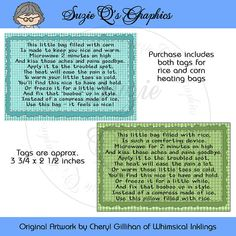 Instruction Tags for the Rice or Corn Filled Heating Pad