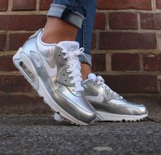 Nike Air Max 90 Sneakers! These are big youth sizes which will also fit womens. COLOR:Silver (HARD to find color).