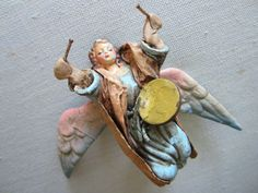 Angelic Drummer Art And Craft Paper Mache Hand Colored Figure