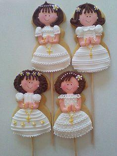hermosas ideas para decorar las galletas de la primera comunion para una niña