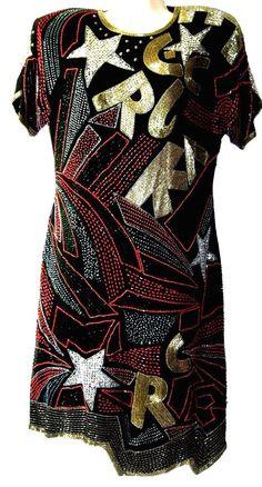 Rock Star Designer Beaded Dress by Lillie Rubin Vintage 80's Disco Size 12 #LillieRubin #Clubwear
