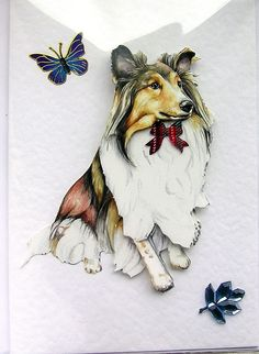 Collie HandCrafted 3D Decoupage Card  Blank by SunnyCollectables, £1.50