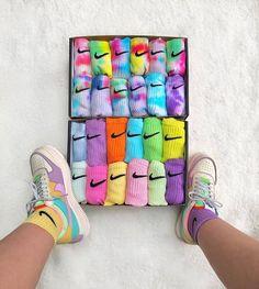 cute socks for women Sneaker Outfits Women, Nike Outfits, Skater Outfits, Emo Outfits, Disney Outfits, Grunge Outfits, Jordan Shoes Girls, Girls Shoes, Tie Dye Socks