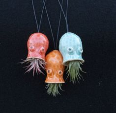 Ceramic Cephalopod and Jellyfish Air Plant Holders-2