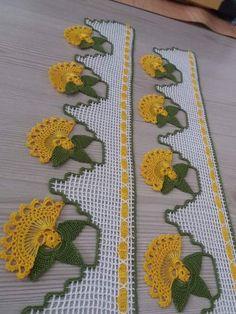 Look Bak Bitmez 107 Different Crochet Hijab Towel Edge Needlework Model Crochet Towel, Crochet Lace Edging, Crochet Borders, Crochet Doilies, Crochet Baby, Knit Crochet, Baby Knitting Patterns, Crochet Patterns, Lace Runner