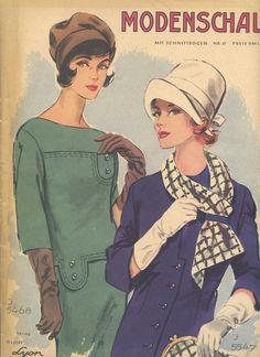 """**MODENSCHAU Nr. 57 aus dem Jahr 1961**  """"Es wird Herbst."""" Die entsprechenden Modelle findet man hier im Heft: viele Kleider, Mäntel und Jacken, Kostüme, festliche Mode, Röcke und Blusen,..."""