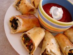 Southwestern Eggrolls--they don't sound healthy, but they do sound very good. I wouldn't bother frying; I'd just bake them.