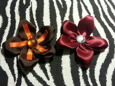 "~ Fabric Flowers Brown Orange + Aggie Maroon Red 3"" Hair Bow Set~For Manziel Fan #Handmade Johnny Football Manziel #Manziel #Johnnyfreakingfootball"
