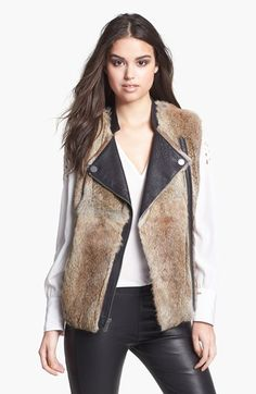fur vest with leather collar