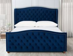 Augment a shade of modern flair to your bedroom decor by adding this Jennifer Taylor Marcella Navy Blue King Upholstered Bed. Bedroom Closet Design, Bedroom Furniture Design, Bed Furniture, Home Decor Bedroom, Cheap Furniture, Handmade Furniture, Furniture Makeover, Vintage Furniture, Upholstered Platform Bed