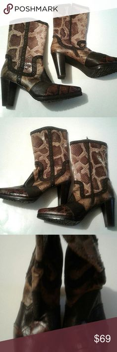 """Stuart Weitzman Womens Zip Up Boots Cowgirl 10M Stuart Weitzman Womens Zip Up Boots Cowgirl Western  Size 10M. Heel is about 3"""". They have an animal croc look with a scaly covering. Stuart Weitzman Shoes Heeled Boots"""
