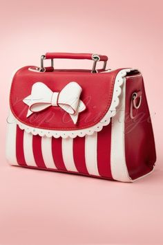 Rockabilly Outfits, Bow Bag, Pin Up Dresses, Red Bags, Cute Bags, Red And White Stripes, Purses And Bags, Retro Vintage, Fashion Accessories