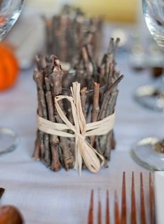 Fall/Christmas~ Go rustic with this embellished twig votive holder. So simple to make!