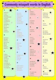 Commonly Misspelled Words Worksheet | Commonly misspelled words ...