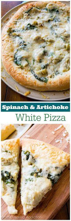 Spinach Artichoke White Pizza sallysbakingaddiction.com recipe