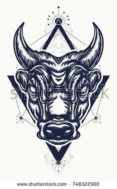Bull tattoo and t-shirt design. Ancient Rome and ancient Greece concept war t-shirt design. Minotaur, symbol of bravery, fight, hero, army. Bull tattoo art