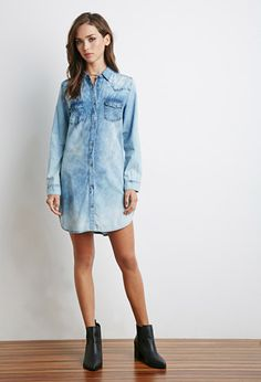 Faded Denim Shirt Dress | Forever 21 | #f21denim