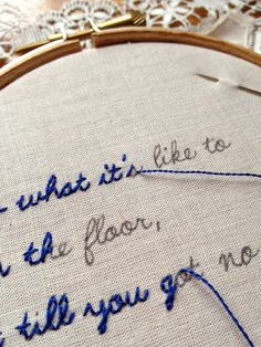 Handmade Christmas Gifts to Sew Now Great idea! I think I will embroider our wedding song lyrics and then make a throw pillow ❤Great idea! I think I will embroider our wedding song lyrics and then make a throw pillow ❤ Embroidery Art, Cross Stitch Embroidery, Embroidery Patterns, Simple Embroidery, Hand Embroidery Letters, Diy Embroidery Gift Ideas, How To Embroider Letters, Pillow Embroidery, Wedding Embroidery
