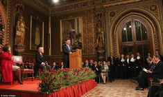 President Xi was introduced by John Bercow, left, before addressing both Houses of Parliam...