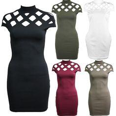 Womens Cut Out Caged Sleeve Bodycon Choker High Neck Hollow Clubwear Mini Dress