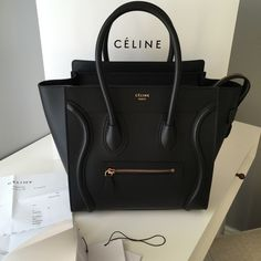 Celine Micro Luggage Tote Bag Black BNWT Authentic, brand new with tags, box, dust bag and receipt. This is the smooth leather with gold hardware. $2900P and no trades Celine Bags Totes