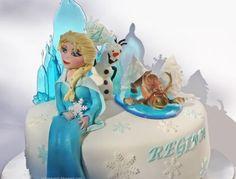 Frozen cake,  hand made (gumpaste) Elsa, Olaf and Swen. Sugar glass.