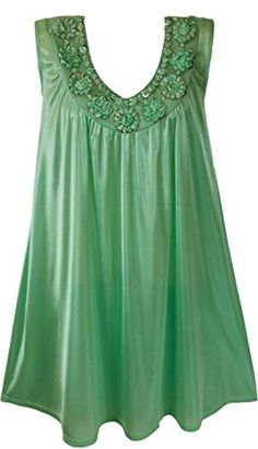 """Venice Womens' Silky Looking Nightgown With Flowers 2X-Large Aquamarine. Nylon lookingnightgown with flowers Style. Sheer single layer fabric. Embroidered with silver sequins. 40"""" Length - Sleeveless. 100% Polyester."""