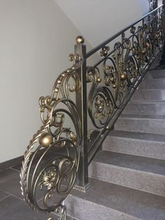 Tiled Staircase, Staircase Railing Design, Home Stairs Design, Railings, Iron Handrails, Wrought Iron Stair Railing, House Main Gates Design, Door Gate Design, Steel Grill Design