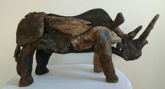 Rinoceronte-Driftwood Driftwood, Moose Art, Lion Sculpture, Statue, Animals, Rhinos, Artists, Animales, Animaux