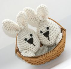 Easter bunny decor or toys, 2 Easter spring crochet amigurumi rabbits neutral beige natural off white