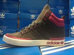 Womens Adidas Top Court Mid Classic Sneakers New, Gray Hot Pink G66216 Sale**