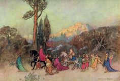 Works of Geoffrey Chaucer 1912 Theseus returning in triumph Canvas Art - Warwick Goble x Warwick Goble, Geoffrey Chaucer, Greek Pantheon, Best Jigsaw, Indian Theme, 22 November, Classic Paintings, Vintage Artwork, Children's Book Illustration