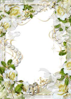 Beautiful Transparent Soft White Wedding Photo Frame with White Flowers