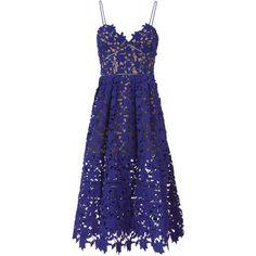 Azaelea Cobalt Dress (9,415 MXN) ❤ liked on Polyvore featuring dresses, blue, self portrait dress, blue spaghetti strap dress, v neckline dress, v neck spaghetti strap dress and lace dress