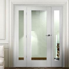 Easi-Frame White Door Set, GWPP10-COEOP26, 2005mm Height, 1528mm Wide. #whitedoorwithglass #glazeddoorwithscreen #internaldoor