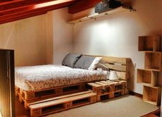 This list of 20 DIY Pallet Bed Frame Ideas involves building custom DIY bed frame designs with disassembled wooden pallets. Diy Pallet Bed, Wooden Bed Frame Diy, Pallet Couch, Wooden Boxes, Diy Casa, Wooden Pallets, Pallet Wood, Pallet Frames, How To Make Bed