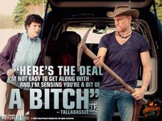 Jesse Eisenberg as Columbus and Woody Harrelson as Tallahassee in Zombieland Zombie Movies, Funny Movies, Great Movies, Awesome Movies, Horror Movies, I'm Awesome, Horror Art, Tallahassee Zombieland, Movie Quotes