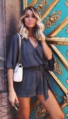 #fall #outfits Black Wrap Romper + White Shoulder Bag