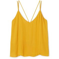 Amber Woven Tank ❤ liked on Polyvore featuring tops, yellow top, braided tank top, strappy tank top, low v neck tops and deep v neck tank top