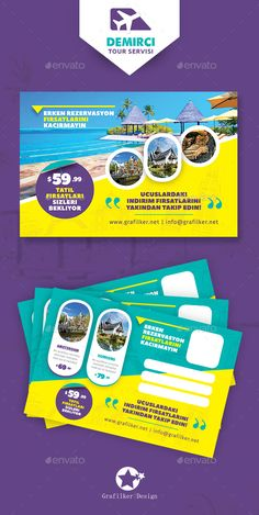 Buy Travel Tours Postcard Templates by grafilker on GraphicRiver. Travel Tours Postcard Templates Fully layered PSD 300 Dpi, CMYK Completely editable, print ready Text/Font or Color c. Logo Design Love, Creative Poster Design, Flyer Design, Graphic Design, Travel Brochure Design, Travel Design, Travel Ads, Travel Tours, Postcard Template