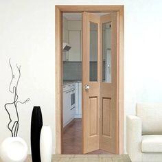 Interior Bifold Doors, Malton Oak Bi-Fold Door with Clear Safety Glass  - Lifestyle Image