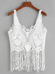 b62797b03c364 White Crochet Lace Fringe Hem Tank Top White Lace Tank Top
