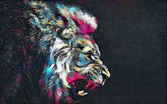 Download wallpapers lion, art, wall, street art, gray background
