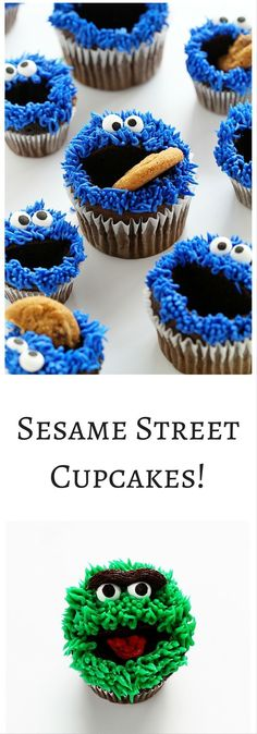 Elmo, Cookie Monster, and Oscar Cupcakes… all with EASY Video tutorial! Elmo, Cookie Monster, and Oscar Cupcakes… all with EASY Video tutorial! Elmo Cupcakes, Cookie Monster Cupcakes, Elmo Cookies, Elmo And Cookie Monster, Cupcake Cookies, Baking Cookies, Super Cookies, Cupcakes Design, Sesame Street Cupcakes