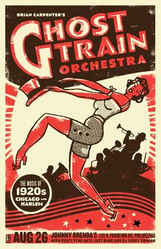"Brian Carpenter's Ghost Train Orchestra's CD ""Hothouse Stomp"" is heavily influenced by music from the Harlem Renaissance period of the 1920s and 30s. For their Fall show poster, we were very inspired by posters from the Savoy Ballroom, Cotton Club and the Federal Theatre Project/WPA Vaudeville posters of that era."