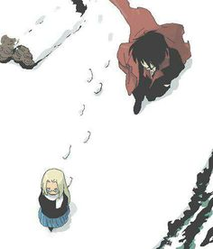Alucard & little Integra, walk in the snow, Hellsing